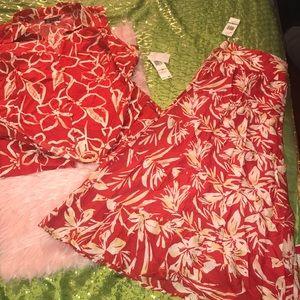 Jones New York Red and White Skirt set